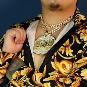 "3pc Last Supper Temple Huge Gold Pt 18,20"" Fully Cz Hip Hop Cuban Choker Chain"