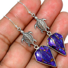 Turtle - Copper Purple Turquoise 925 Silver Earring Jewelry AE146771