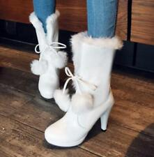 Women Mid Calf Boot Pull on High Heel Lace-up Fur Lined Ankle Boots Shoes New