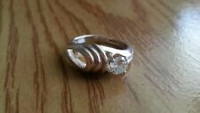 925 Sterling Silver *Size 6.5 *G075 Beautiful Art Deco White Cubic Zirconia Ring