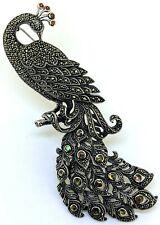 Pfau dekorativ groß Brosche Granat, Markasit & See-Opal  925er Silber