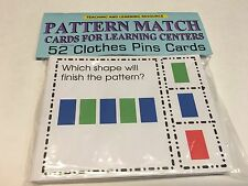 Pattern Match - Cards for Learning Center 52 Clothes Pin Cards Teaching supplies