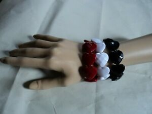 Bracelet bundle - (3) Red White Black Acrylic Hearts stretch style