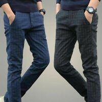 Men British Style Linen Cotton Pants Fit Suit Plaid Casual Trousers Slim Classic