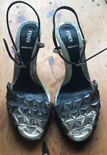 fendi women's heeled sandal (size 38.5) silver/grey