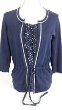 August Silk Ruffled Polka Dot Tie Waist Sweater 3/4 Sleeve Navy Blue Large