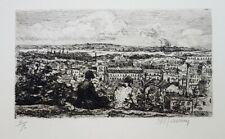 Eau forte de Charles MAURIN, Montmartre, vue de Paris