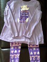 "Gymboree Christmas holiday ""Feline Festive"" little girl's purple pajamas, S 5-6"