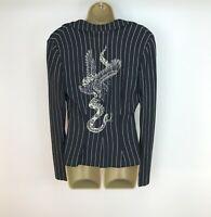 CLASS Roberto Cavalli Blazer UK Size 8 Pinstripe Black White Snake Embroidered