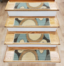 """Rug Depot 13 Contemporary Non Slip Carpet Stair Treads 26"""" x 8"""" Blue Stair Rugs"""