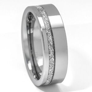 Meteorite Ring 8mm Tungsten Carbide Comfort Fit Mens Wedding Band Thin Line