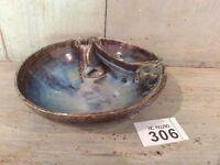 Blue Glazed Studio Pottery Trinket Dish