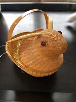 1 VINTAGE BUNNY RABBIT BASKET W/ GLASS EYES WOODEN EARS Easter VERY CUTE!