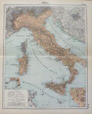 Landkarte von Italien, Sizilien, Korsica, Sardinien, Rom, Otto Herkt um 1908