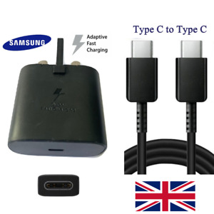 Genuine CE Superfast Fast Wall 3 Pin Plug & Type C USB For Samsung S20, Note 10