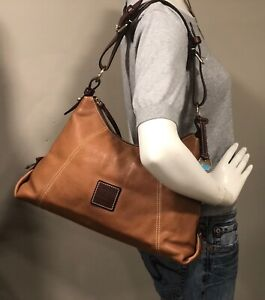 DOONEY & BOURKE Tan Pebbled Leather Hobo Shoulder Bag