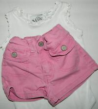 LEVI'S girls Pink Denim Shorts* N KIDS Ruffled Romper OUTFIT* 12 18 months