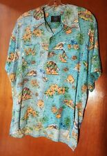 Vtg.1960'S Andrew Lewis Turquoise Blue Rayon Hawaiian Print Shirt Size Xl