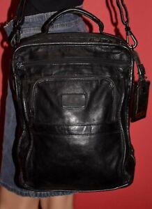 Tumi Alpha Unisex Black Leather Business Carry On Luggage Messenger Bag Case