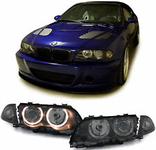 Black projector headlights with angel eyes for BMW E46 sedan touring 1998-2001