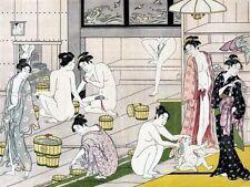 Japanese Bathroom Art Work Bathhouse Bathing Bath Decor 11x15 by Torii Kiyonaga