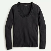 J Crew Women's Ribbed Ruffle Neck T Shirt Pullover Long Sleeve Top Black Size L
