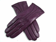 Ladies Womens Premium Quality Real Super Soft Leather Gloves Fur Lined Warm Purple Large