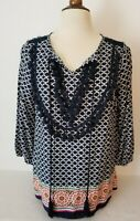 Crown & Ivy Peasant Boho Tunic Top Size S  3/4 Sleeve Navy Multi Print