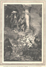 """Münster """"Prophet v.Haarlem a.d.Markplatz zu Münster"""" Original Holzstich von 1887"""