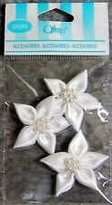 Offray Accessories 1-1/4 in White Ribbon 5 Petal Flowers & Center Pearls - 3 Pcs