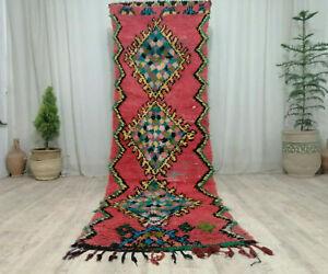 Vintage Moroccan Handmade Azilal Runner Rug 3'x9'9Berber Geometric Red Carpet