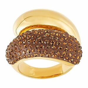 Bypass Brown Crystal Ring in Gold-Plated Brass