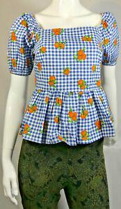 Ladies Women Gingham Fruit Print Cotton Smock Top Size 10 BNWT RRP £18 LTOct08-9