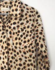 Peter Alexander Womens Long Sleeve Button Front Leopard Print PJ Top Size XS