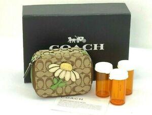 New Coach Daisy Brown/Khaki/Green Signature Canvas Leather Pill Case F61624