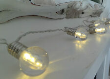 LED Light Bulb Garland - 200cm Mains Operated, Vintage Retro Style, White