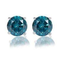 925 Sterling Silver Stud Earrings In Screw 2.05 Ct Round Cut Blue Diamond