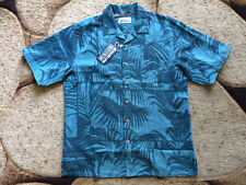 REYN SPOONER Hawaiian Button Shirt Size Medium Linen Blend Teal Green NWT $98.00