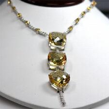 De Buman 14k White Gold 60.06 ctw Citrine with Diamond Pendant Necklaces, 11.5''