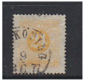 Sweden - 1872, 24 ore Orange-Yellow (Perf 14) - G/U - SG 23b (b)