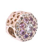 NEW Authentic PANDORA Rose 14k Gold Pink Sparkle Flower Charm Pendant 787851NPM