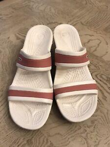 CROCS Shima Double Strap Platform Wedge Sandal  Size 7 Pink Mushroom White(Box4)