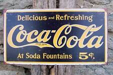 "Antique Style Coca Cola 5 Cents Soda Tin Sign Retro Wall Decoration USA 16"" x 8"""