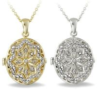 Diamond Accent Oval Locket Necklace - 2 Options