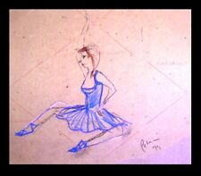ORIGINAL ART = Oil Pastel DRAWING = C PETERSON = French Circus Dancer = LISTED