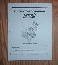 MTD 2 STAGE SNOW THROWER OPERATORS MANUAL WITH PARTS LIST SEE PICTURE FOR MODELS