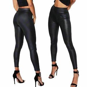 Womens Ladies Pvc Leather High Waist Leggings Pu Wet Look Stretch Trousers Pants