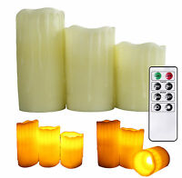 """Flameless Candles Real Wax Dripping Set Of 4"""" 5"""" 6"""" LED Battery Powered w Remote"""