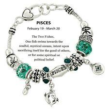 Birthstone Bracelet Murano European Beads Pisces SLVR BLUE February March Charm