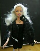 BARBIE DOLL BLONDE & PINK HAIR BLACK DRESS & LACE JACKET HIGH HEEL SHOES